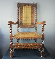 Jacobean Renaissance Revival Carved Walnut & Cane Throne Chairs c.1870 (25 of 39)