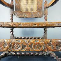 Jacobean Renaissance Revival Carved Walnut & Cane Throne Chairs c.1870 (27 of 39)