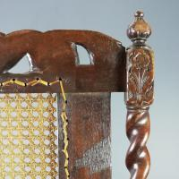 Jacobean Renaissance Revival Carved Walnut & Cane Throne Chairs c.1870 (28 of 39)