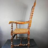 Jacobean Renaissance Revival Carved Walnut & Cane Throne Chairs c.1870 (30 of 39)