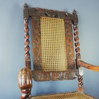 Jacobean Renaissance Revival Carved Walnut & Cane Throne Chairs c.1870 (31 of 39)