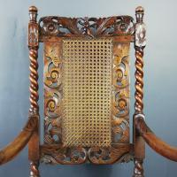 Jacobean Renaissance Revival Carved Walnut & Cane Throne Chairs c.1870 (35 of 39)