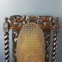 Jacobean Renaissance Revival Carved Walnut & Cane Throne Chairs c.1870 (33 of 39)