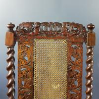 Jacobean Renaissance Revival Carved Walnut & Cane Throne Chairs c.1870 (38 of 39)