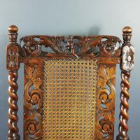 Jacobean Renaissance Revival Carved Walnut & Cane Throne Chairs c.1870 (36 of 39)