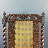 Jacobean Renaissance Revival Carved Walnut & Cane Throne Chairs c.1870 (34 of 39)