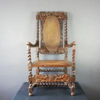 Jacobean Renaissance Revival Carved Walnut & Cane Throne Chairs c.1870 (3 of 39)