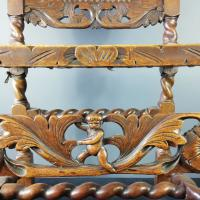 Jacobean Renaissance Revival Carved Walnut & Cane Throne Chairs c.1870 (9 of 39)