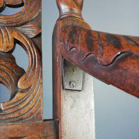 Jacobean Renaissance Revival Carved Walnut & Cane Throne Chairs c.1870 (11 of 39)