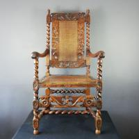 Jacobean Renaissance Revival Carved Walnut & Cane Throne Chairs c.1870 (12 of 39)