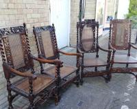 Jacobean Renaissance Revival Carved Walnut & Cane Throne Chairs c.1870 (2 of 39)