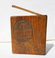 Rare Beautiful Wood Carved Jerusalem Dome Temple Card or Vesta Case c.1950