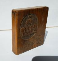 Rare Beautiful Wood Carved Jerusalem Dome Temple Card or Vesta Case c.1950 (2 of 11)