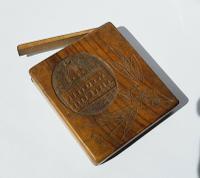 Rare Beautiful Wood Carved Jerusalem Dome Temple Card or Vesta Case c.1950 (8 of 11)