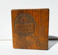 Rare Beautiful Wood Carved Jerusalem Dome Temple Card or Vesta Case c.1950 (11 of 11)