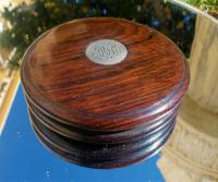 Rare 18th Century Georgian Oak Wood & Solid Silver Cartouche Circular Snuff Box c.1780 (2 of 8)