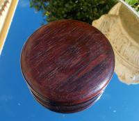 Rare 18th Century Georgian Oak Wood & Solid Silver Cartouche Circular Snuff Box c.1780 (3 of 8)