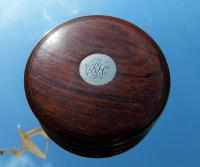 Rare 18th Century Georgian Oak Wood & Solid Silver Cartouche Circular Snuff Box c.1780 (7 of 8)