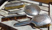 Beautiful Victorian Solid Silver Hermann Bauer German Floral Brush & Mirror Set Germany c.1900 (2 of 12)