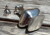 Beautiful Edwardian Samuel M Levi Solid Silver Bulbous  Design Pounce Pot     Birmingham 1905 (7 of 8)