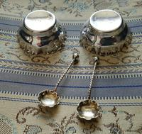 Beautiful Victorian John Millward Banks Solid Silver Salt & Spoon Cased Set Birmingham 1890 (6 of 9)