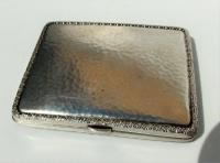 Rare Stunning Austrian  Solid Silver Planished Finish Cigarette / Card Case c.1900 (4 of 12)