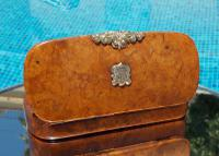 Rare French Georgian 9ct Gold Shield Crown Crest Burr Wood Rectangle Snuff Box c.1800 (3 of 10)