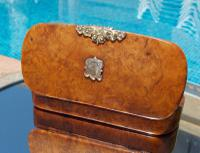 Rare French Georgian 9ct Gold Shield Crown Crest Burr Wood Rectangle Snuff Box c.1800 (10 of 10)