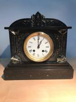 Distinctive Circa 1890 French Black Slate / Marble Striking Mantle Clock.