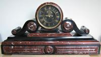 Majestic 1850's French Drumhead Striking Mantle Clock, in Black Slate & Rouge / White Marble.
