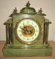 Wonderful French Striking Green Onyx and Ormolu Mantle Clock by Japy Frères.