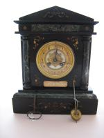 Imposing 1900 French Striking Black Slate Mantle Clock by Samuel Marti.
