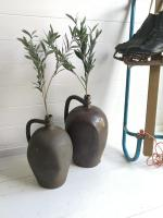 Antique Pair of French Stoneware Normandy Calvados Storing Jugs, Ceramic Storage Vessels, 19th Century
