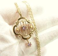 Antique Hallmarked Gold Pendant & Necklace (3 of 8)