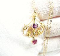 Antique Hallmarked Gold Pearl & Garnet Pendant Necklace