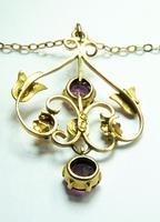 Antique Hallmarked Gold Pearl & Garnet Pendant Necklace (6 of 8)