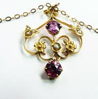 Antique Hallmarked Gold Pearl & Garnet Pendant Necklace (3 of 8)