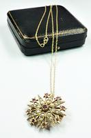Victorian Garnet & Seed Pearl Pendant with Chain (7 of 8)
