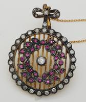 Silver Gilt Ruby & Diamond Edwardian Pendant (2 of 4)
