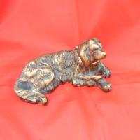 Brass Inkwell in the Shape of a Spaniel