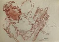 Original Red Chalk Drawing of a Girl Reading by Toby Horne Shepherd. 1909-93 c.1960. Signed.