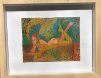 Reclining Nude by Ken Walch Original Oil on Board c.1975 Painted in a Pointilist Manner