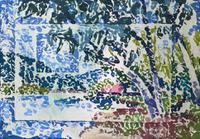 Trees by a Lake. Original Block Painted Oil On Paper by Ken Walch 1927-2017. Signed & Dated 1970