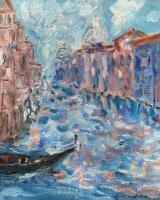 Venetian Canal Scene. Original Oil on Board. Signed Malcolm c.1980