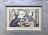 Original Screen Print of Two Girls by Toby Horne Shepherd 1909-1994 c.1955 Signed