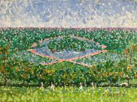 Original Oil on Board by Ken Walch 1927-2017. Pointillist Landscape with Figures, Signed 7 Dated 1971