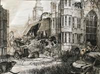 Original Pen & Ink Drawing 'The Plagues of London' 1. Westminster by Peter Gardner R.O.I. b.1923. c.1980