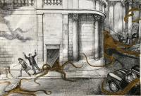 Original Pen, Ink & Gold Paint Drawing 'the Plagues of London' 2. the Bank of England by Peter Gardner R.O.I. b.1923 c.1980