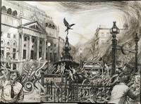 Original Pen & Ink Drawing 'the Plagues of London' 3. Piccadilly by Peter Gardner R.O.I. b.1923 c.1980