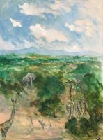 Original Oil Painting on Canvas 'Kenyan Safari' by Barbara Lady Brassey 1911-2010. Signed c.1985